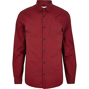 Red long sleeve poplin shirt