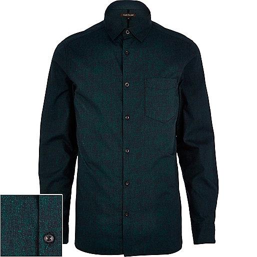 Dark green textured poplin shirt