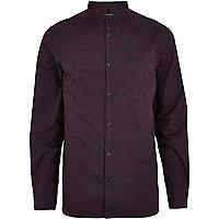 Dark purple textured poplin shirt