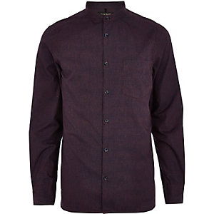 Dark purple textured poplin shirt