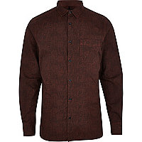 Dark red textured poplin shirt