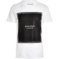 White bonjour madame front print t-shirt