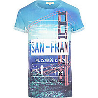 Blue San-Fran luggage tag print t-shirt
