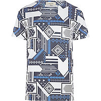 Blue tribal print t-shirt