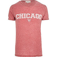 Red burnout Chicago print t-shirt