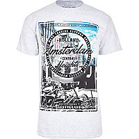 Grey Amsterdam print t-shirt
