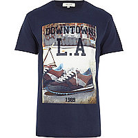 Navy downtown LA print t-shirt