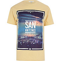 Yellow San Antonio Ibiza front print t-shirt