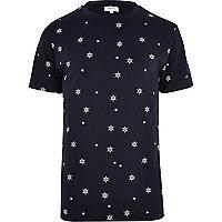 Navy ditsy ship wheel print t-shirt