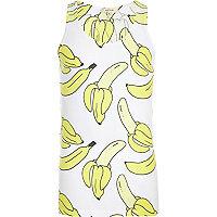 White banana print vest
