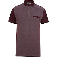 Dark red colour block polo shirt