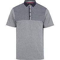 Navy tile print yoke polo shirt
