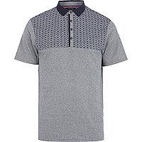 Navy tile print yoke polo shirt