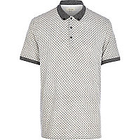 Grey foulard print polo shirt