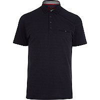 Navy spot print polo shirt