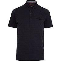 Navy spot print polo shirt