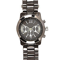Gunmetal tone neon hand bracelet watch