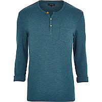 Turquoise marl textured grandad t-shirt