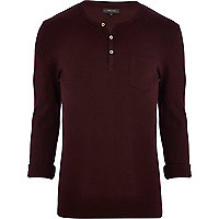 Dark red textured grandad t-shirt