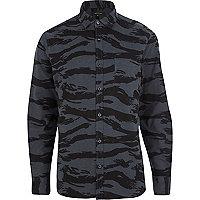 Grey camo print flannel shirt
