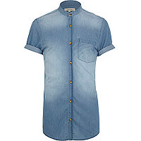 Mid wash grandad collar denim shirt