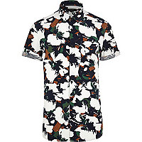 White floral camo print short sleeve shirt