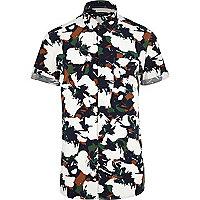 White floral camo print short sleeve shirt