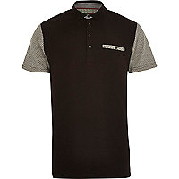 Black geometric print sleeve polo shirt