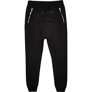 Black drop crotch joggers