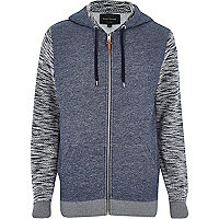 Navy textured sleeve zip through hoodie