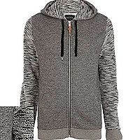 Grey textured sleeve zip through hoodie