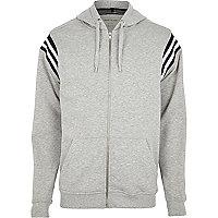 Grey stripe detail hoodie