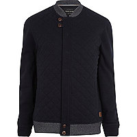 Navy quilted contrast trim jacket