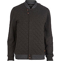 Dark grey contrast trim quilted jacket