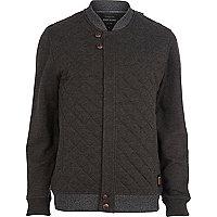 Dark grey contrast trim quilted jacket