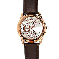 Brown classic rose gold tone face watch