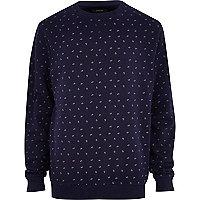 Navy ditsy paisley print sweatshirt