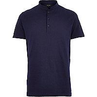 Navy grandad collar polo shirt