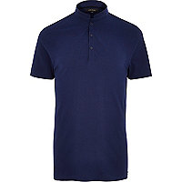 Blue grandad collar polo shirt