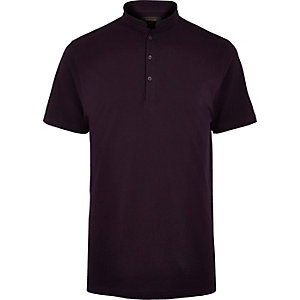 Purple grandad collar polo shirt