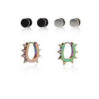 Black spike hoops and plug earrings pack