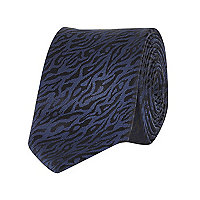 Navy animal jacquard tie