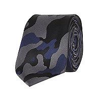 Black camo print tie