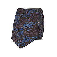 Blue paisley print tie