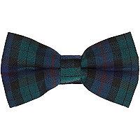 Dark green tartan bow tie
