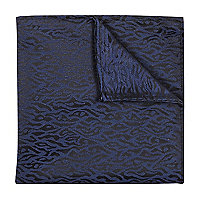 Navy animal jacquard pocket square