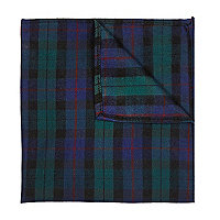 Dark green tartan pocket square