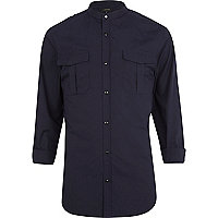 Navy blue military grandad shirt