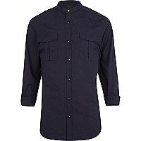 Navy blue military grandad shirt