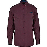 Dark red ditsy geometric print shirt